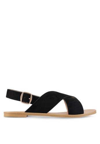ZALORA black Cross Strap Sandals 53C33SH913DC66GS_1