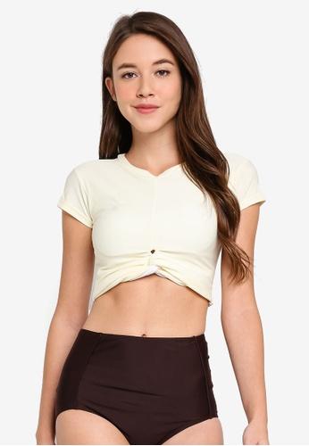 PINK N' PROPER white and brown Ae Ra Crop Top High-Waist Bikini Set B6E4CUS429E258GS_1