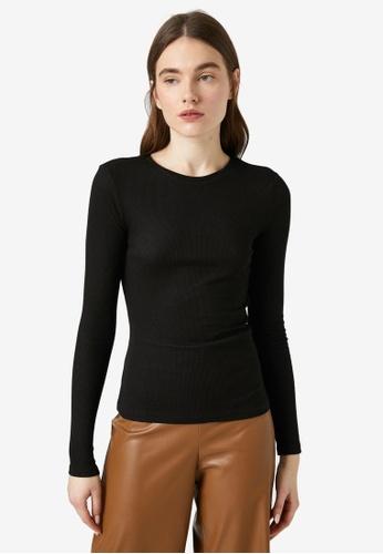 KOTON black Rib Long Sleeve Top 51FE6AA60E42D3GS_1