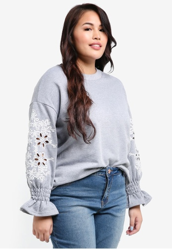 LOST INK PLUS grey Plus Size Sweat With Broderie Sleeves DFF20AA230266CGS_1