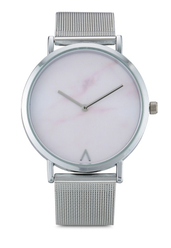 NUVEAU silver Round Marble Face Mesh Strap Watch NU245AC0SBIAMY_1