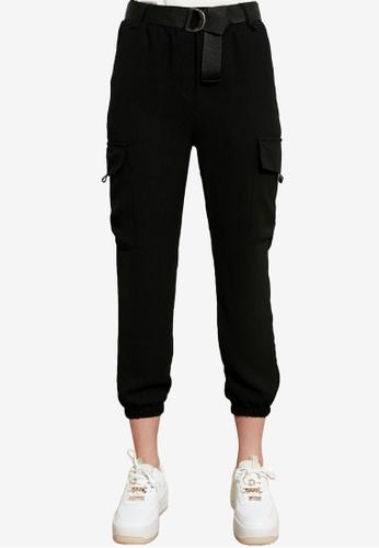 Trendyol black Belted Cargo Jogger Trousers BA881AA80B6BCDGS_1