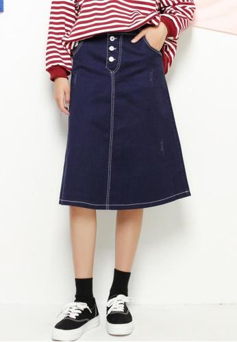 Shopsfashion blue Basic Flare Midi Skirt SH656AA17QOWSG_1