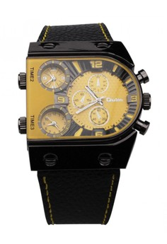 Oulm 3 Time Zone Sports Leather Military Army Watch - Yellow