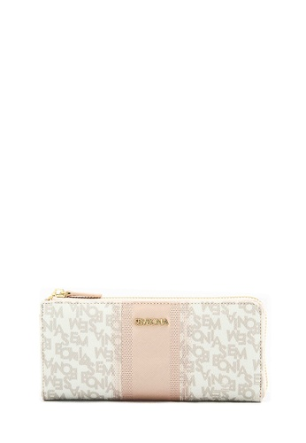 SEMBONIA grey Checkered Coated Canvas Monogram Dual Accordion Wallet (Grey) SE598AC0RVUXMY_1