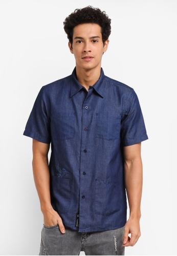 Penshoppe blue Chambray Short Sleeve Safari Shirt C4ED7AA0E4DF66GS_1