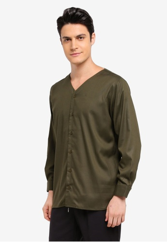 Zalia Homme 綠色 V Neck Shirt BF4EAAA00FC154GS_1