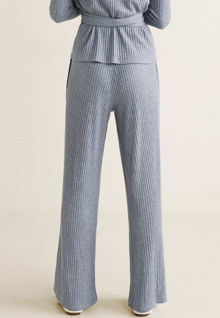 Mango Ribbed Grey Ribbed Trousers Medium Mango Trousers 8wr8qgzB
