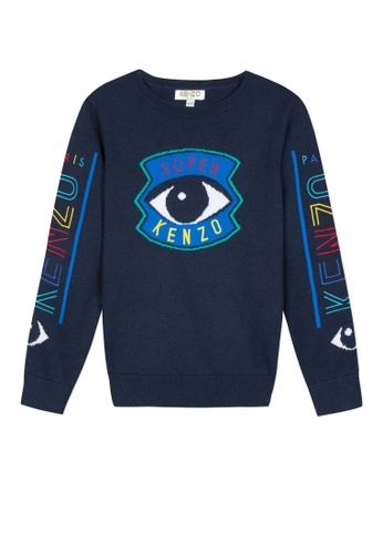 KENZO KIDS blue KENZO EYE SWEATER FOR BOYS 54492KA9018113GS_1