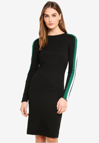 Brave Soul black Midi Dress With Stripes BDA0CAA8E5E595GS_1