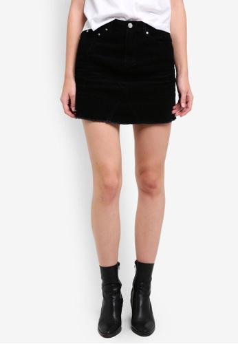 Miss Selfridge black Black Cord A-Line Skirt MI665AA0RSUEMY_1