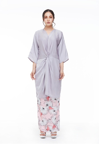 Anya Knot Modern Kurung in Grey from CANGKUK in Grey and Pink