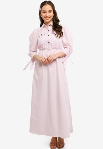 Lubna purple Leisure Buttoned Dress 8ECF9AA670ED35GS_1