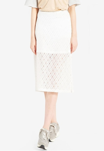 Tokichoi white Lace Skirt with Side Slit 90E86AA088EE05GS_1