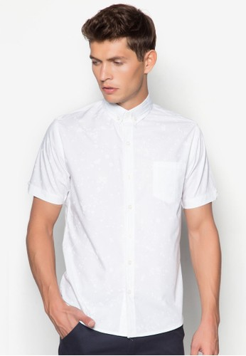 Tony 潑漆棉質短袖襯衫, 服飾, 襯zalora 泳衣衫