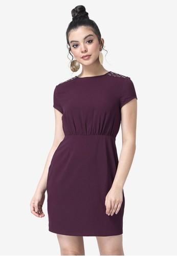 FabAlley purple Embellished Gathered Waist Dress 460F3AA18DF814GS_1