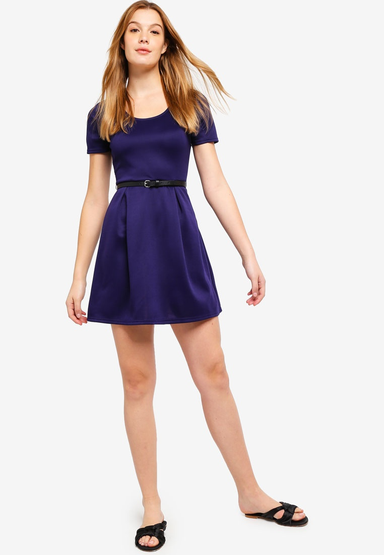 Scoop Flare With And Fit BASICS Navy Belt Dress Basic ZALORA Neck dgqAdp