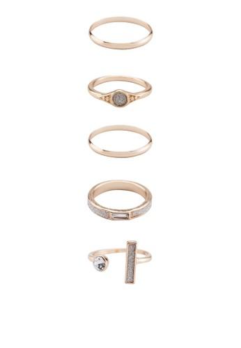 五入寶石鑲嵌戒指組合, 飾品配件, 飾esprit高雄門市品配件