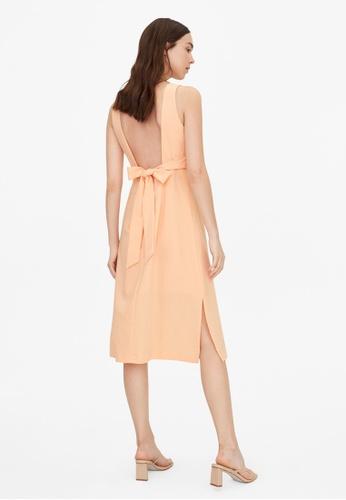 Pomelo orange Open Tie Back Slit Dress - Orange ADCEBAAA50476CGS_1