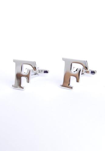 Splice Cufflinks silver Monogram Alphabet Rhodium Plated Cufflinks - F SP744AC17PRISG_1