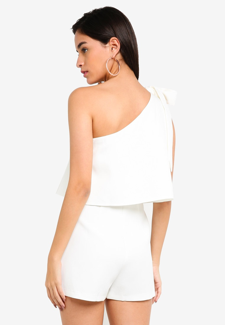 f5939ca68599 ... MISSGUIDED One MISSGUIDED White One Shoulder Playsuit 7w5q4Za ...