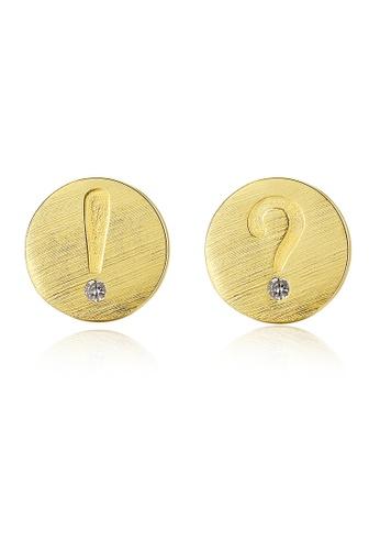 SUNRAIS gold Premium Silver S925 gold letter earrings D4537AC4155365GS_1