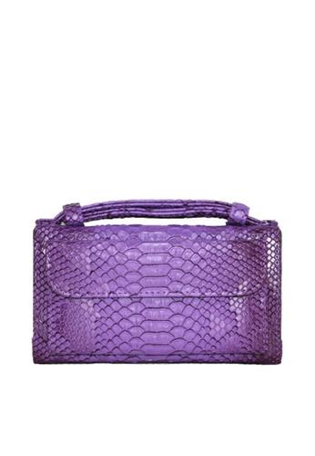 Twenty Eight Shoes purple VANSA Serpentine Pattern Embossed Cow Leather Bi-Fold Wallet VBW-Ps6021 F9BAAAC83CF5E6GS_1