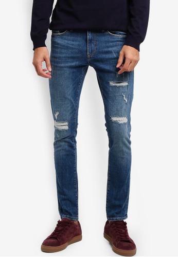 River Island blue Danny Distressed Super Skinny Jeans 604F7AAB371335GS_1