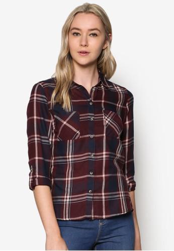 格紋長袖襯衫, 服飾, 上esprit女裝衣