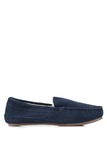 Burton Menswear London navy Navy Suede Loafers BU964SH0T1GZMY_1