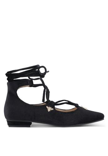 ZALORA black Velvet Lace Up Flats C5A3AZZE65A68CGS_1