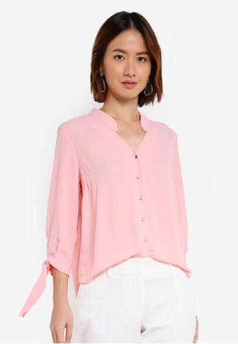 Dorothy Perkins pink Petite Pink Rollsleeve Shirt E04D9AA2828CF1GS_1