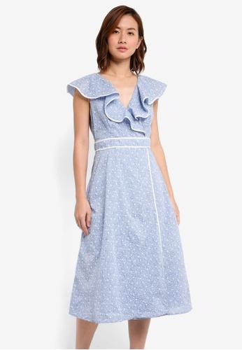 ZALORA blue and multi Ruffle Midi Dress With Contrast Binding 078FAAAF8AC14CGS_1