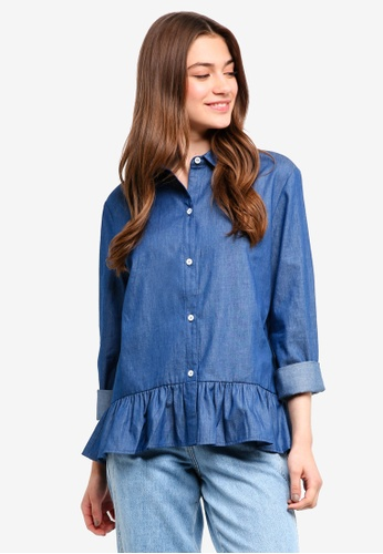 Something Borrowed blue Chambray Peplum Shirt 3E71BAA446C9D2GS_1