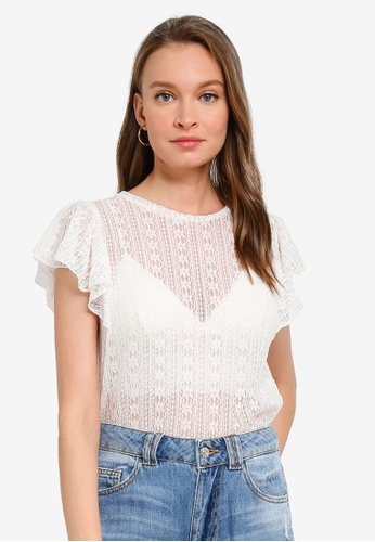 PIMKIE white Ruffled Sleeve Lace Top 43DE6AAF4895D5GS_1