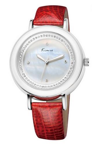 Eyki red Kimio KW513 Genuine Leather Rhinestone Watch (Silver Red) EY078AC97RNMMY_1