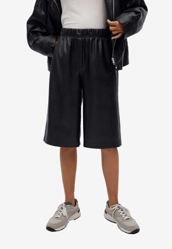 Mango black Leather Effect Bermuda Shorts 26553AABEB6485GS_1