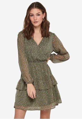 JACQUELINE DE YONG green Penelope Long Sleeve Dress C89C8AA1277339GS_1