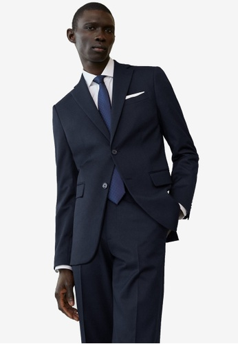 Mango Man blue Regular Fit Microstructure Suit Blazer DA604AA8EA4939GS_1