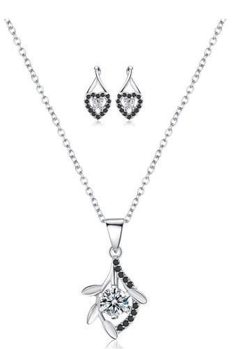 A-Excellence white Premium Elegant White Sliver Necklace Earring Set 33E0FAC9DA18ADGS_1