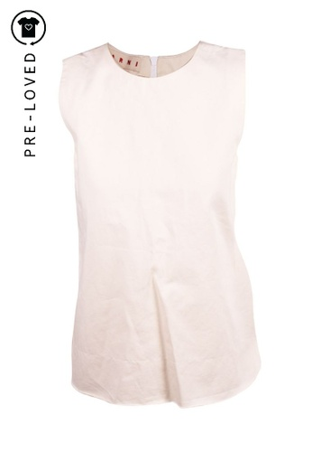 MARNI white Pre-Loved marni Cream Cotton Top 8EBFAAA0BFEBD1GS_1