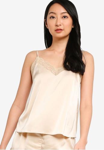 ZALORA BASICS beige Lounge Lace Detail Satin Cami Top D9828AADCA8684GS_1