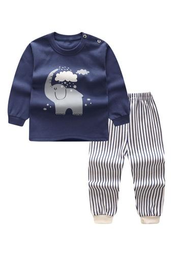 Yangkiddo blue Grey Elephant Baby Kids Unisex Pyjamas 6392EKABFC23D6GS_1