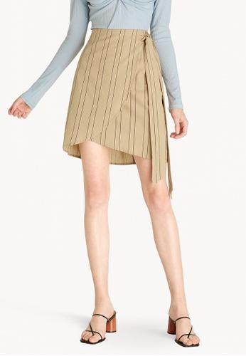 Pomelo beige Striped Side Tie Skirt - Cream 35EECAAA6E150CGS_1