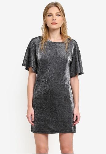 WAREHOUSE silver Metallic Tunic Dress WA653AA0S23DMY_1