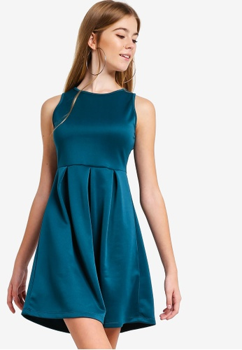 Something Borrowed green Scuba Fit And Flare Dress 31401AAB45E1F3GS_1