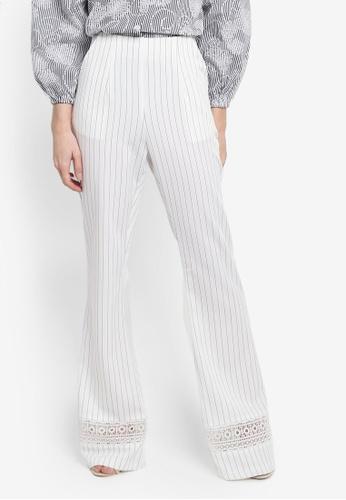 Zalia black and white and multi Lace Trim Flare Pants DD2F1AAE432561GS_1