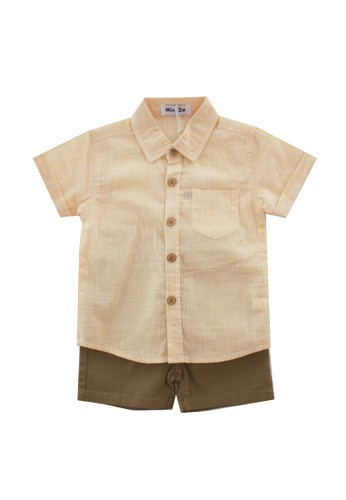 Mini Zo white and yellow Golza Kid's Shirt Set Brown AF1ABKA5A2AC97GS_1
