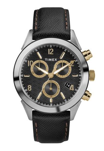 Timex black and silver and gold Timex Torrington Chrono 40mm - Silver-Tone Case, Black Strap (TW2R90700) ECD2DAC1DE911CGS_1