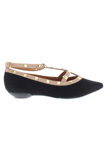 Beira Rio black and beige Studded Pointed Flats BE995SH24XFFHK_1